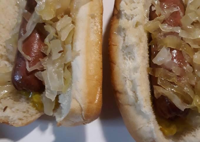 Homemade Fermented Sauerkraut on Hotdogs