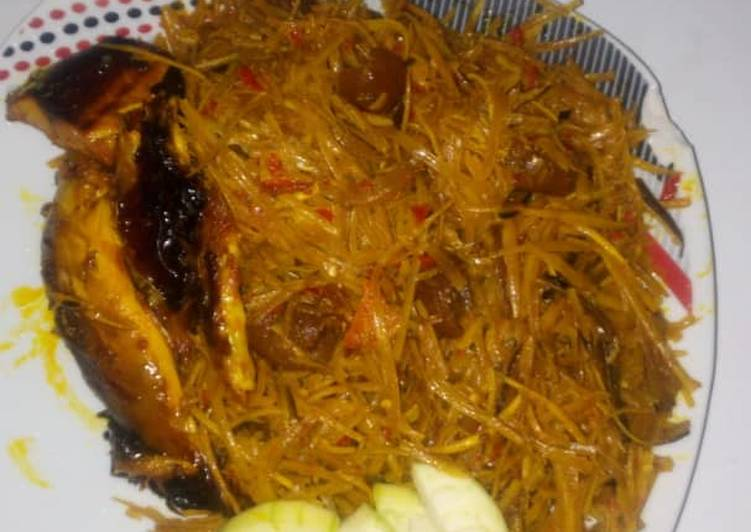 What is Dinner Ideas Any Night Of The Week Delicious Abacha with pomo, smoke fish and garden egg