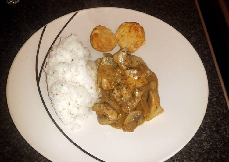 coconut chicken & mushroom with sweet dumplings & rice