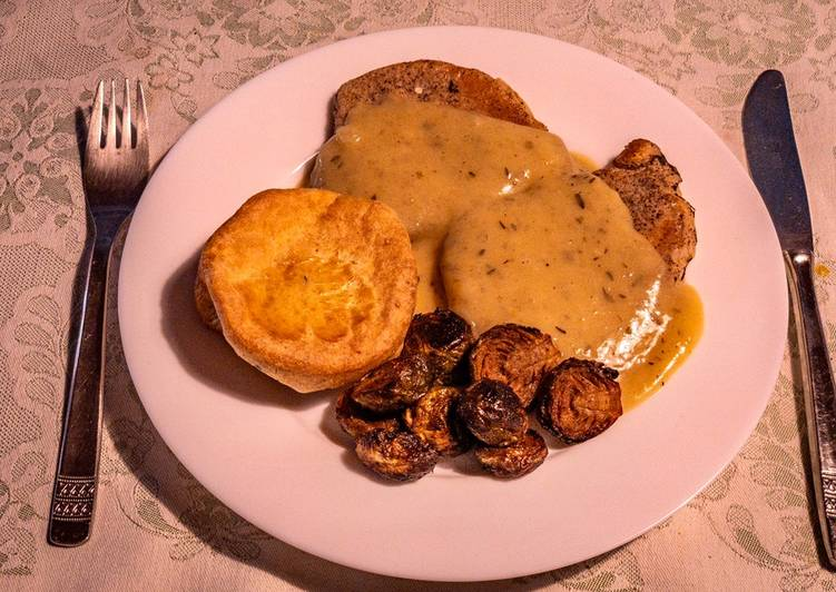 Recipe of Any-night-of-the-week Fried pork chop in cognac gravy sauce with Yorkshire pudding and Baked Brussel Sprouts