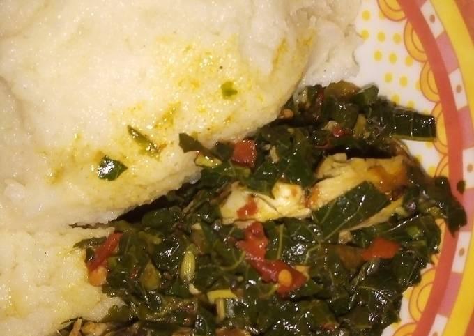 Efo riro soup with semo