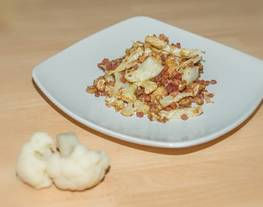 Coliflor frita con taquitos de jamón serrano