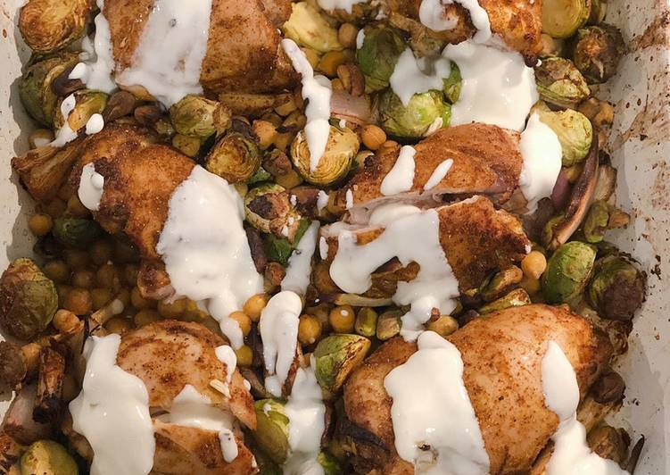 Curried chicken, sprouts and chickpeas with honey lemon yogurt