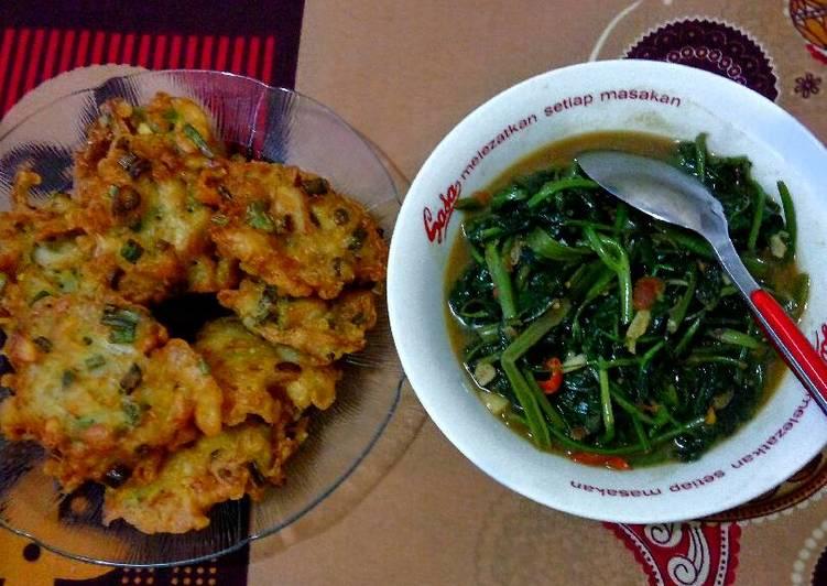 Bakwan Jamur & Tumis kangkung Doenjang (tauco)