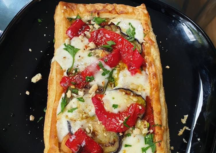 Simple Way to Prepare Award-winning Taleggio, vegetable and almond tart