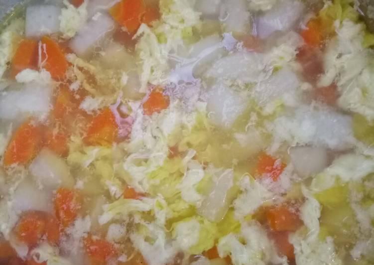 Cara Membuat Sup lobak wortel telur Kekinian