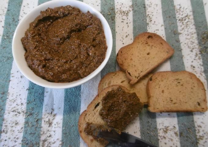 Homemade greek olive & red paprika spread