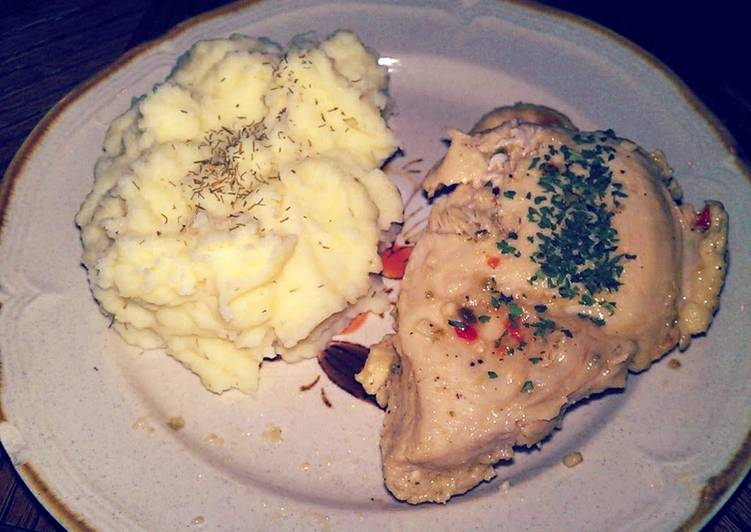 Easiest Way to Make Ultimate Garlic Wine and Herb Chicken