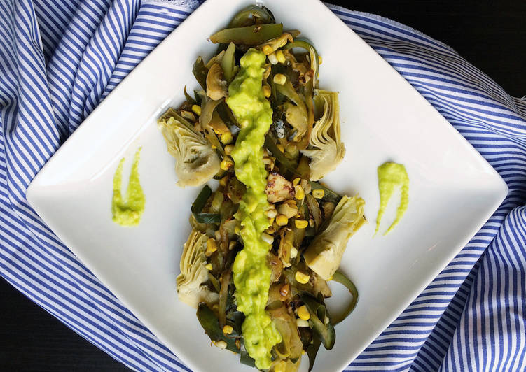 "Zucchini Ribbon ""Pasta"" with Artichokes and Avocado Dressing"