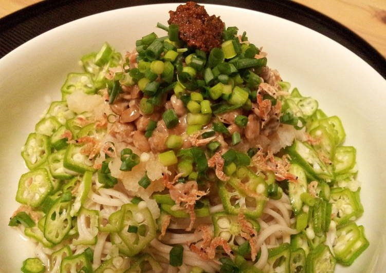 Okra and Natto Soba with Grated Daikon (served cold)