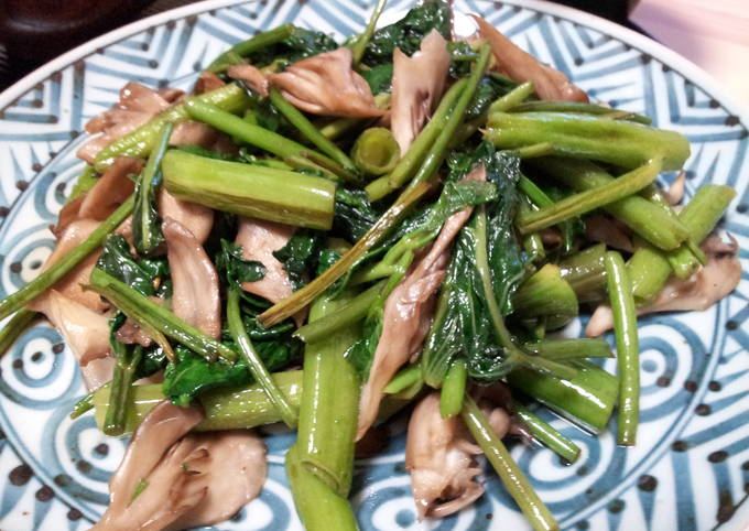 Ong Choy and Mushrooms with Oyster Sauce