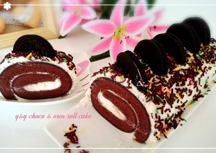 Choco & oreo roll cake