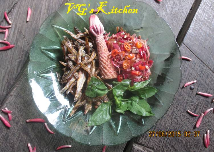 Recipe of Super Quick Homemade ANCHOVY SAMBAL GINGER FLOWER (Gerang Sambal Bongkot)