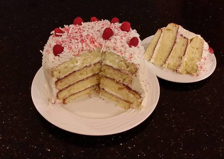 Simple Way to Make Favorite Vanilla Lemon Raspberry Layer Cake with Whipped Cream Buttercream Frosting