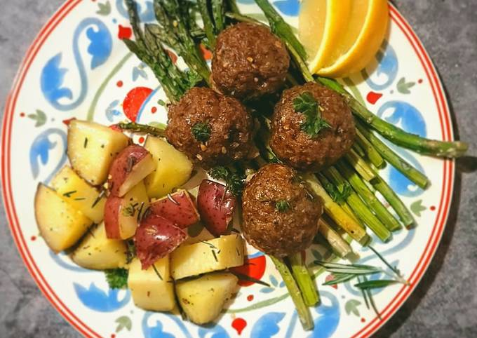 Beef Meatballs w/ Roasted Potatoes and Spicy Asparagus