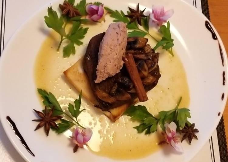 Easiest Way to Make Tasty Chateaubriand forestiere a la mousse de canard, sauce au miel
