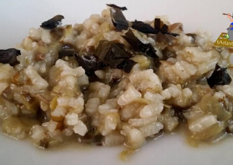 Arróz meloso de alga wakame y tirabeque