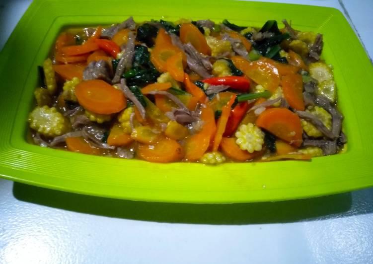 Cap cay daging sayur simple