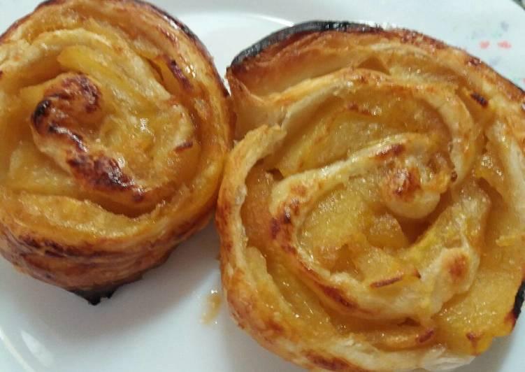 Caracolas de hojaldre y manzana