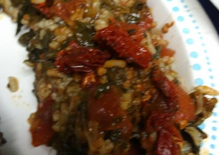 Spinach, Rice and Tomatoes