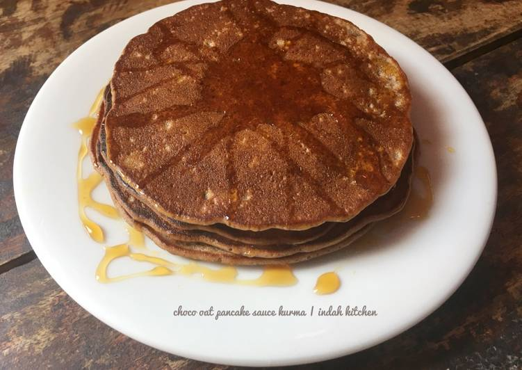 Choco oat pancake sauce kurma