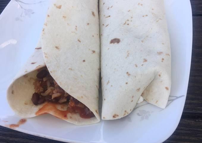 Tofu,black bean and corn chili burrito