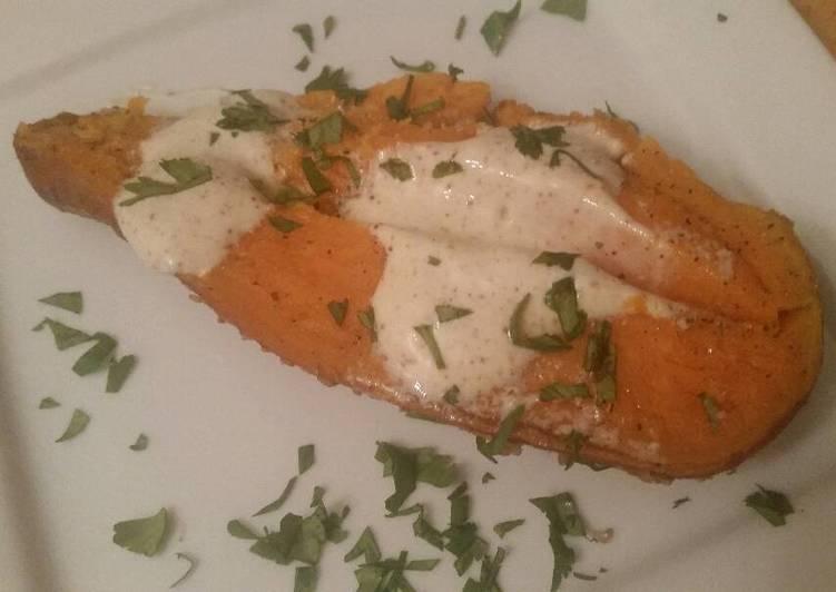 Cumin Baked Sweet Potato w/ Ancho Crema
