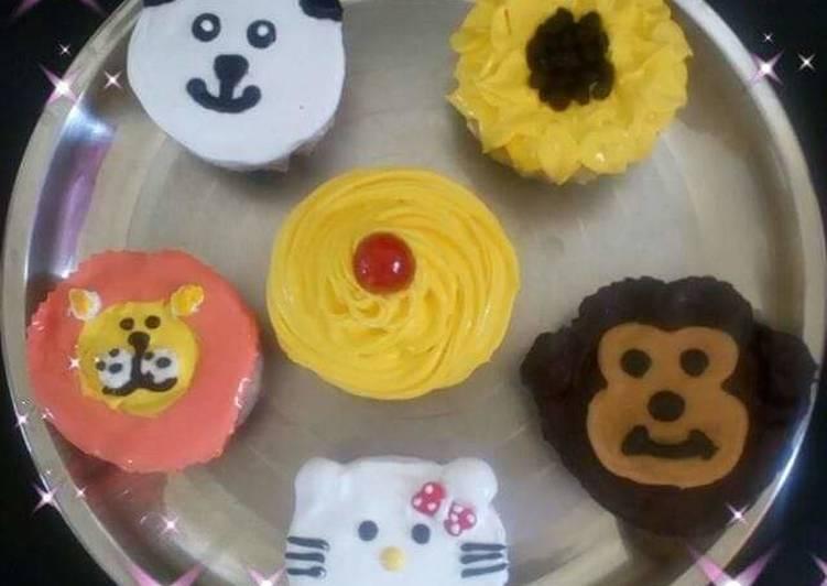 Recipe: Appetizing Emoji animals cupcakes eggless