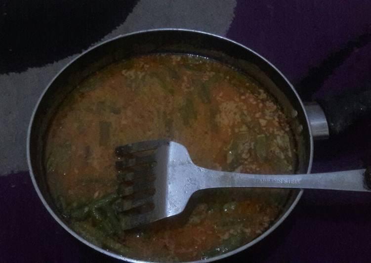 Resep Sayur labu Siam dan buncis santan pedas Yang Simple Dijamin Enak