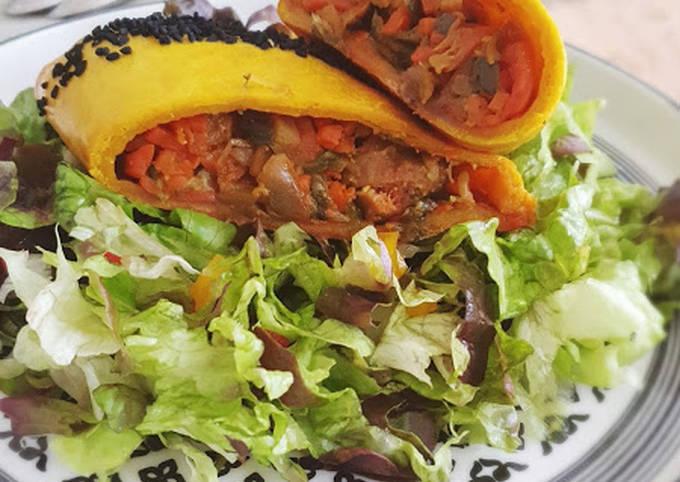 Chaussons merguez et légumes au curry