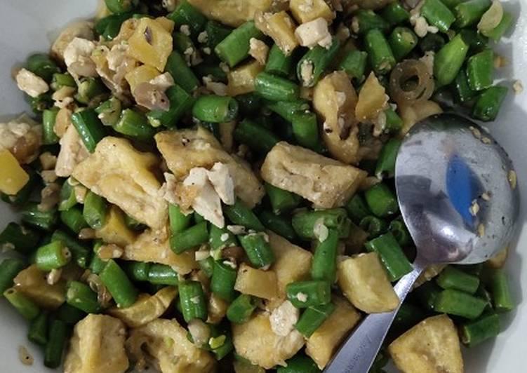 Resep Vegetarian food Buncis saos tiram Berpadu dengan tahu + kentang Anti Gagal