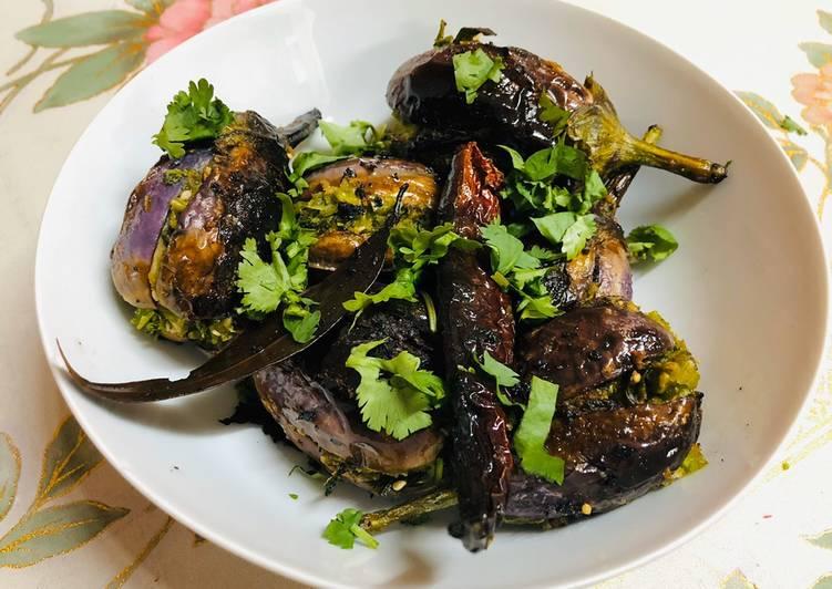 Methi Toovar (Pigeon Peas) stuffed Eggplant