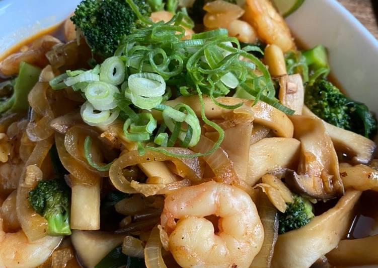 Recipe of Favorite Eringi [エリンギ] Mushroom, Prawns & Broccoli in Sweet Oyster Sauce