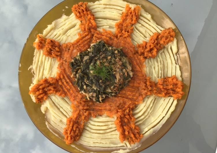 Recette Délicieuse Duo de purées en étoile pommes de terre et carottes aux épinards