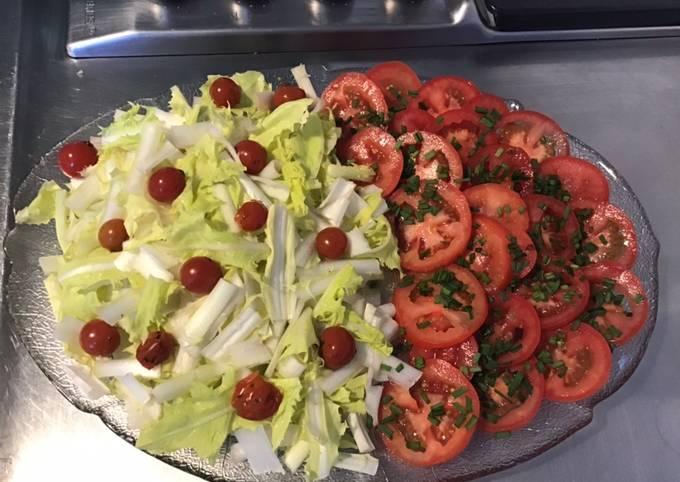 Salade de barbucine aux deux tomates et ciboulette