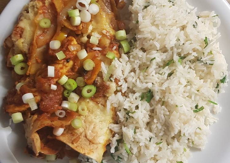 Simple Way to Prepare Top-Rated Vegetarian enchiladas with coriander lime rice