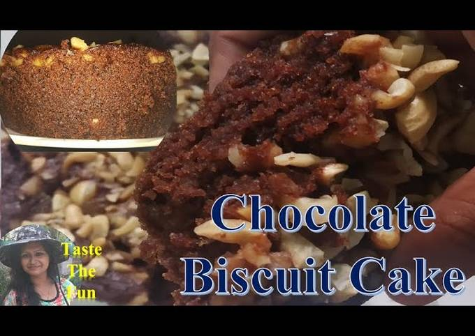 No Oven Chocolate Cake   Chocolate Biscuit cake   Chocolate Cake Recipe   Eggless Biscuit Cake