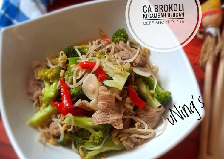 Ca Brokoli Kecambah dengan Beef Short Plate