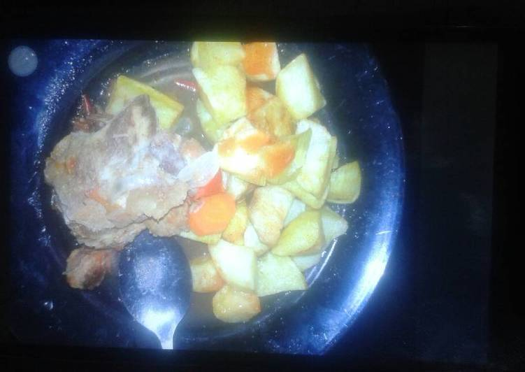 Roast potatoes and beef stew