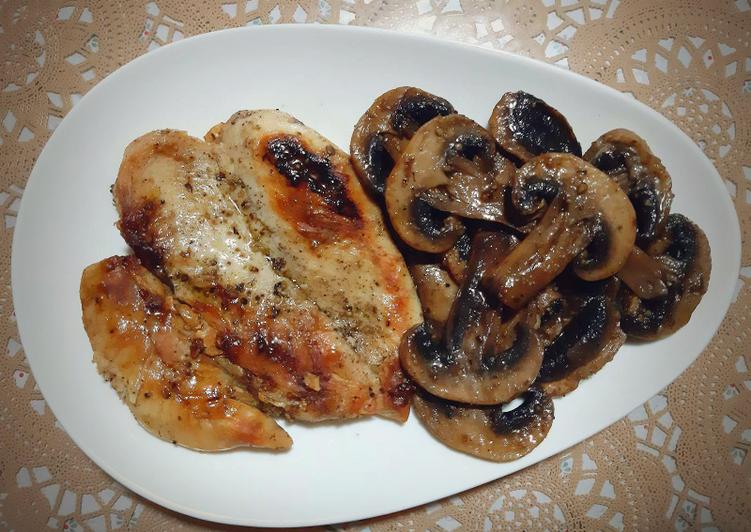 Comment faire Cuire Délicieux Blanc de poulet aux champignons frais 🍄