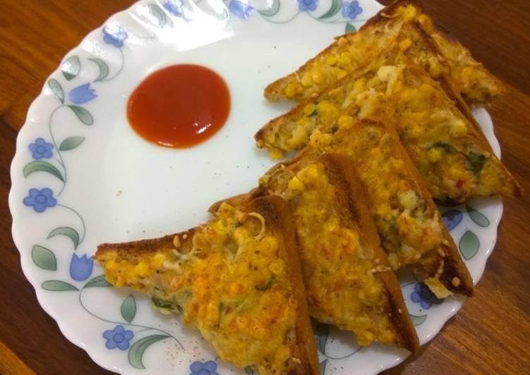 Cheese corn & capsicum toast