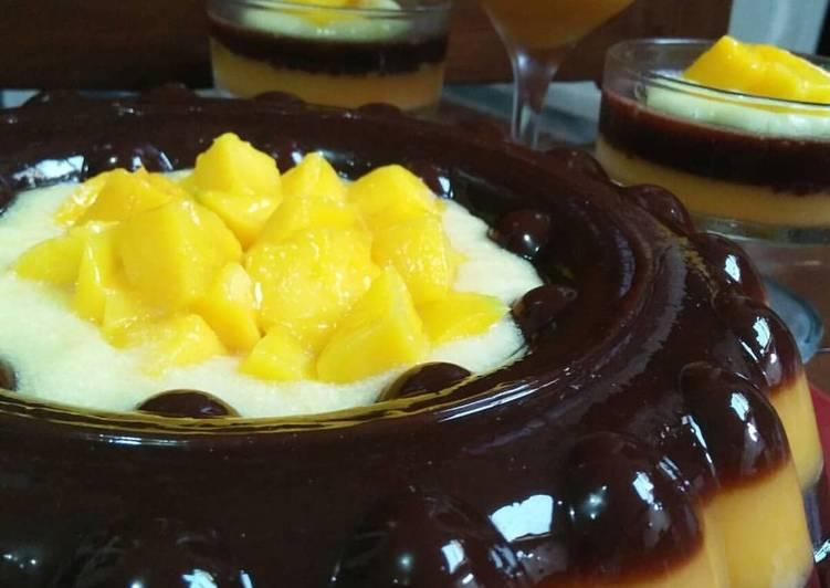 resep cara mengolah Puding Mangga Coklat