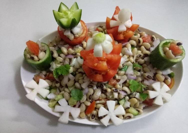 Lobia veg salad (Black eyed pea salad)