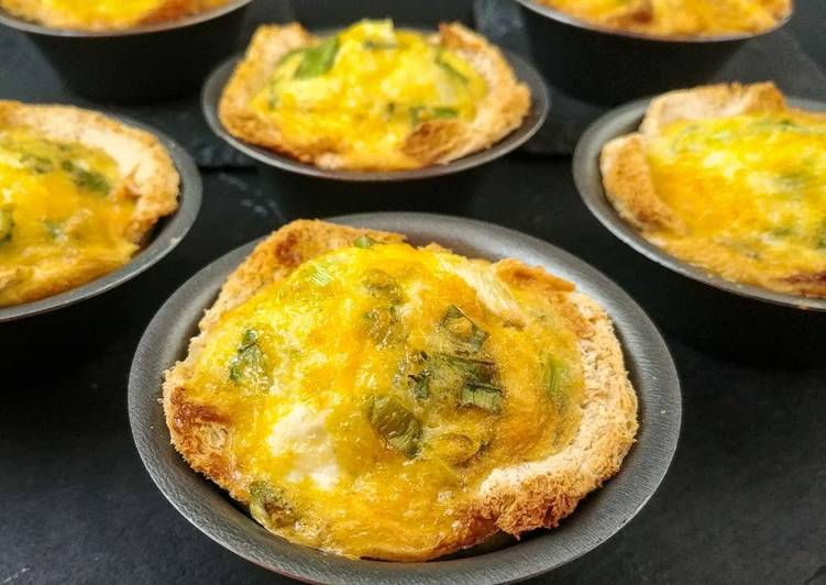 Recipe: Perfect Green Onion and Egg Toast Cups