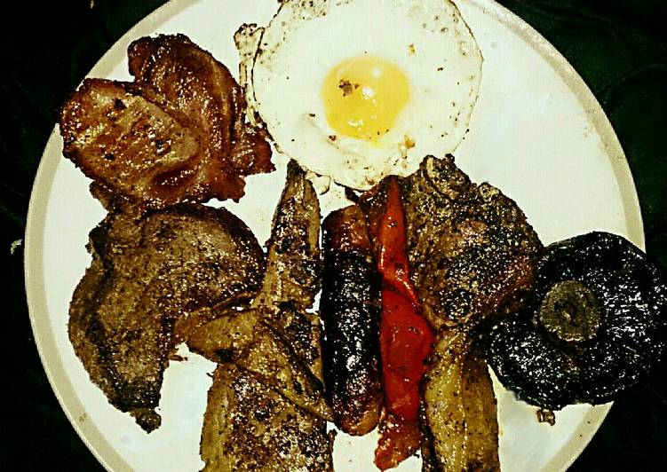 Recipe of Any night of the week Tex's St George's Mixed Grill 🐄🐷🐑 🍄🍅🍳🇬🇧
