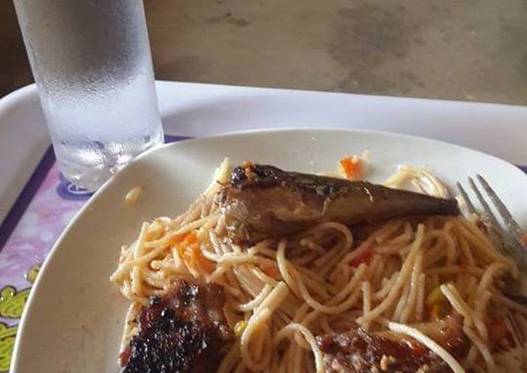Spaghetti and Grilled fish