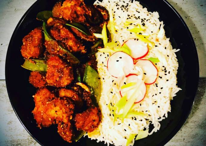 Maple Syrup Spicy Breaded Chicken, Mange-touts and Mushroom with Thyme Basmati Rice
