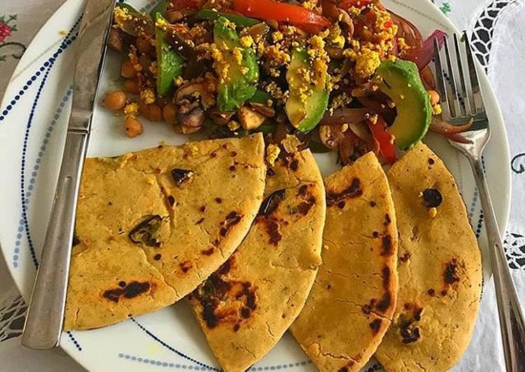 Steps to Prepare Homemade Chickpeas Raw mango Sundal with Gramflour flat bread