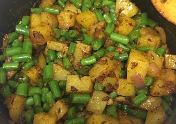 French Beans/Green Beans -Potato Stir Fry