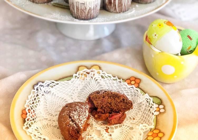 Muffin al cioccolato e fragole